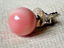 SINGLE STERLING SILVER & PINK CORAL BALL SHAPED 6mm STUD EARRING £3.95  NWT