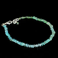 Blue Apatite 31.50 Cts Earth Mined Round Shape Faceted Beads Bracelet (RS)