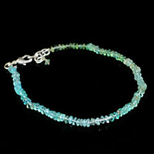 Blue Apatite 31.50 Cts Earth Mined Round Shape Faceted Genuine Beads Bracelet