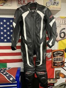 Mens RST R-14 1 Piece Black Leather Motorcycle Sports / Racing Suit Size 46 EU56