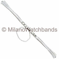 10mm Bulova Clasp Safety Chain Silver Tone Stainless Watch Band VN011