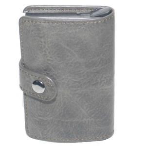 Portafoglio uomo in vera pelle grigio portacarte pocket con molla salvacarta in