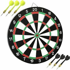 Full Size 17 Inch Dart Board for Adults or Kids Double Sided Dartboard Game