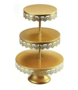 Vilavita 3 Tiered Flat Round Cake Plate Stands With Crystal Accents - Gold