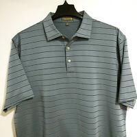 PETER MILLAR Summer Comfort Men's XL Golf Polo Shirt Gray Striped