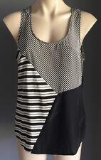 NWOT SABA Silk Black & Grey Stripe Sleeveless Tank Top Size 12 (M)