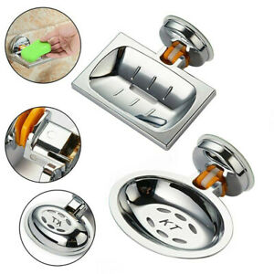 Silver Strong Suction Soap Dish Holder Tray Bathroom Shower Wall Mounted Home