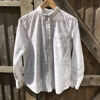 Fat Face White Cotton Ditsy Floral Print Perfect Shirt Size 12 VGC
