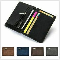 Soft Leather Men's Small Id Credit Card Money Wallet Holder Slim Case Pocket