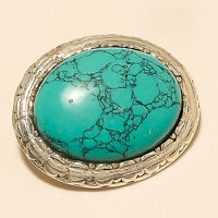 Natural Afghan Blue Turquoise Brooch 925 Sterling Silver Wedding Fine Jewelry AA