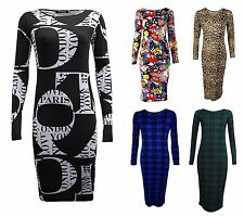 Scoop Neck Long Sleeve Stretch, Bodycon Dresses for Women