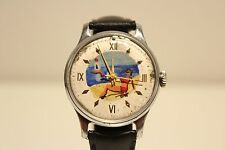 "VINTAGE MEN'S EARLY USSR RUSSIA MECHANICAL WATCH ""POBEDA"" 15j /HAND PAINT DIAL"