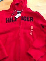 Tommy Hilfiger Mens Big Logo Red XL Full-Zip Heavy Fleece Hoodie NWT$100