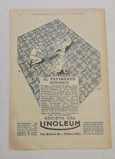 Pubblicità 1928 PAVIMENTO LINOLEUM MILANO advertising reklame publicitè werbung