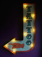 Tatuaje ARROW Luz Led Carnaval Circo Fair Letrero Vintage Regalo de Boda VAC184