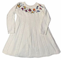 Hanna Andersson Girls Sweater Dress Size 110 US 5 Ivory Cable Knit Embroidered