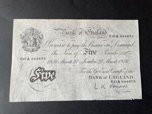 White Fiver - Five Pounds Note. 27th March 1956 - O'Brien - Amazing Condition