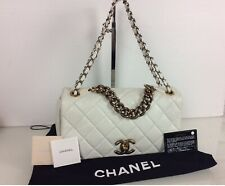 Authentic Chanel Two Way Tote Bag 2012. White Leather. Card + Dustbag + Box.