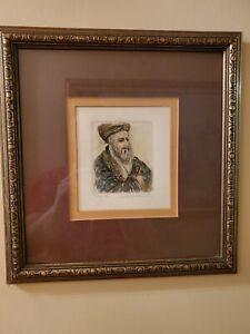 Colored Etching Rabbi Scholar signed Ira Moskowitz Polish American Artist frame