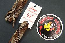"""CAMO BROWN /  BLACK Plaid Fat Flat 50"""" x (5/8""""-3/4"""") JUMP Shoelaces Shoe Strings"""