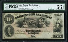 1850s Bordentown New Jersey Banking Co $10 NJ35G20a / PMG 66 EPQ
