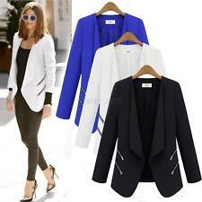 Women's Casual Suits Blazer Lapel Zipper OL Long Sleeve Jacket Coat Outwear Tops