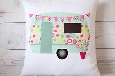 """Jade Caravan - 16"""" cushion cover retro shabby vintage chic - UK handmade"""