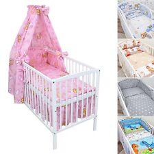 Babybett Gitterbett Kinderbett Weiß 120x60 Msssivholz Bettset komplett