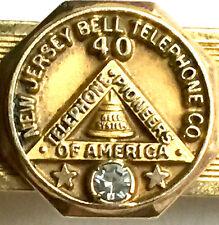 VINTAGE NJ BELL TELEPHONE CO. 40 YR SERVICE AWARD ~ DIAMOND & 12k GOLD FILL CLIP