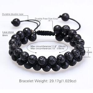 Chakra Mens 2-Layer Lava Stone Oil Diffuser Bracelets Tiger Eye's Reiki Bracelet