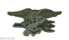 """NAVY  SEALS SEAL TEAM TRIDENT OD GRAY EMBROIDERED 4"""" BADGE PATCH"""