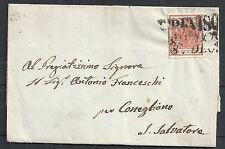 Lombardo-Venice covers 1853 folded letter Treviso per Conegliano