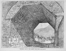 TRIUMPHAL ARCH IN THE NANKOW PASS, CHINA, 1884 ENGRAVING, ARCHITECTURE HISTORY