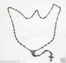 """24"""" 3mm Round Ball Rosary Chain Necklace Black Rhodium Plated Sterling Silver"""
