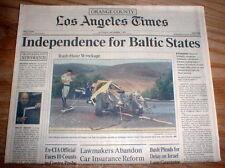 1991 newspaper Latvia LITHUANIA & Estonia GAIN INDEPENDENCE fromTHE SOVIET UNION