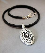 NECKLACE MEN'S, OVAL TRIBAL STYLE PEWTER PENDANT, RUBBER CORD - 7246