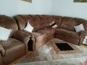 Sofa mit Schlaffunktion und Bettkasten - hellbraun