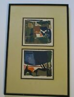 OWEN SIGNED ABSTRACT COLLAGE  MID CENTURY MODERNIST EXPRESSIONIST 1960 VINTAGE