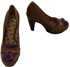 "Paul Smith  ""RHEA""  Tan Leather with purple suede  Court Shoes  UK4 EU37"