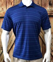 Under Armour Men's 2XL Polo Shirt Blue Striped Short Sleeve Polyester Golf XXL