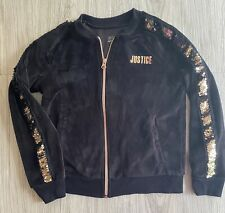 Justice Active Girls Full Zip Velour Jacket Gold Sequin Bling Size 6/7