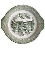 """Currier & Ives CAKE PLATE Handled PLATTER The Old Curiosity Shop Green 11.5"""" Vtg"""