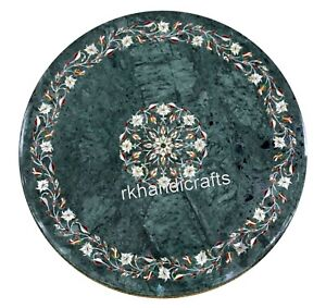 24 Inches Marble Coffee Table Top Round Sofa Table with Royal Inlay Art for Home
