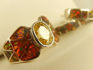 RED Fire OPAL &CITRINE Sterling RING EARRINGS Set Half Hoop Pierced Sz 7 1/2