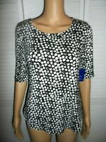 Great Apt. 9 size S black shirt white polka dots elbow short sleeve women NWT