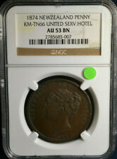 1874 New Zealand Penny, Km-Tn66, United Service Hotel, Ngc Au53Bn, Only 1 Higher
