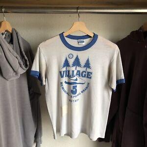 vintage Paper Thin 80's Nike Marathon Ringer T-shirt Sz Medium White/blue Cortez