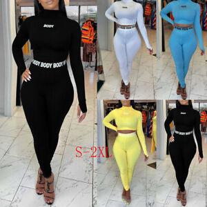 Women 2Pcs Tracksuit Crop Top Leggings Pants Set Lounge Wear Yoga Gym Sport Suit