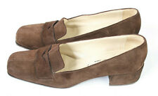 Russell & Bromley London Brown Suede Block Heel Loafers Size UK 3.5 EU 36.5