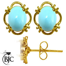 Turquoise Stud Not Enhanced Yellow Gold Fine Earrings